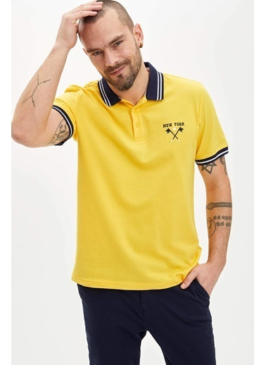 DeFacto Regular Fit Polo T-Shirt Sarı